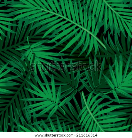 Seamless tropical jungle floral pattern with palm fronds Vector illustration
