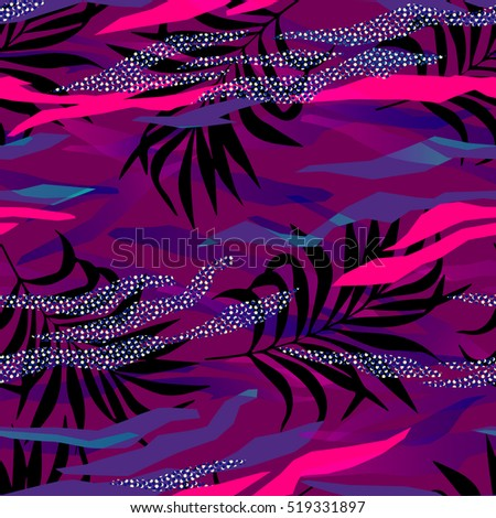 seamless tropical pattern in abstract memphis style. abstract geometric shapes and patterns with palm leaves