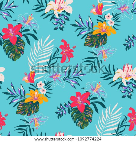 Seamless Tropical Pattern in Vector