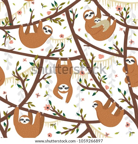Seamless tropical pattern with funny sloths hanging on the tree includes mother with baby. Adorable cartoon animal background. Vector rainforest set of cute sloths, flowers, leaves
