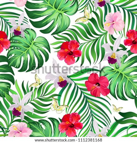 Seamless tropical pattern with hibiscus flowers, palm leaves and orchid. Vector  summer background. template for print design.
