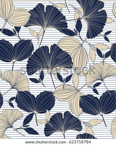 Seamless tropical plant and leaf pattern background