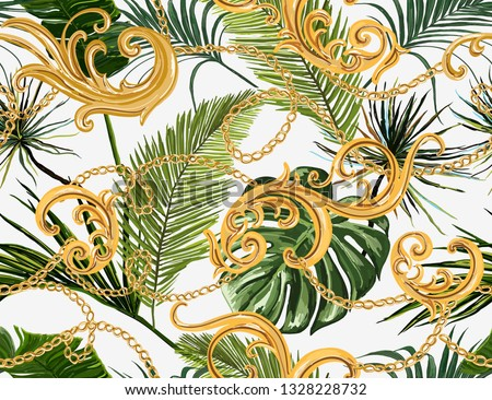 Seamless tropical summer Baroque vector pattern background with golden chains, palm leaves, baroque elments. Vector patch for print, fabric, scarf design.