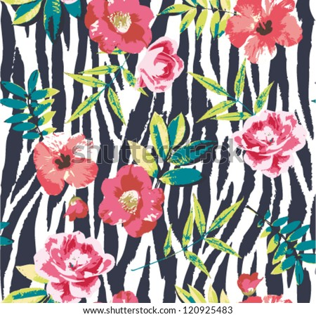 seamless tropical vintage flower vector pattern on zebra background