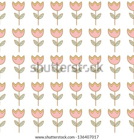 Seamless tulip flower background pattern , Vector illustration