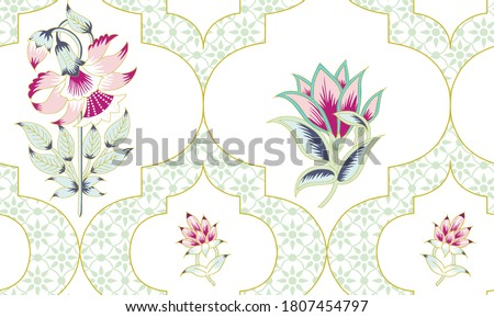 Seamless Turkish colorful pattern. Vintage multi color pattern in Eastern style. Endless floral pattern can be used for ceramic tile, wallpaper, linoleum, textile, web page background. Vector