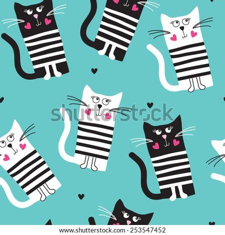 seamless turquoise cat pattern