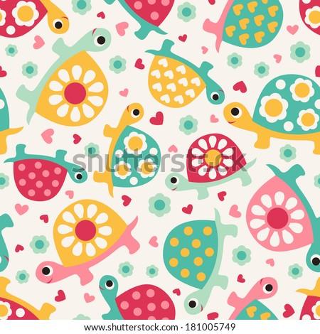 seamless turtle cartoon pattern
