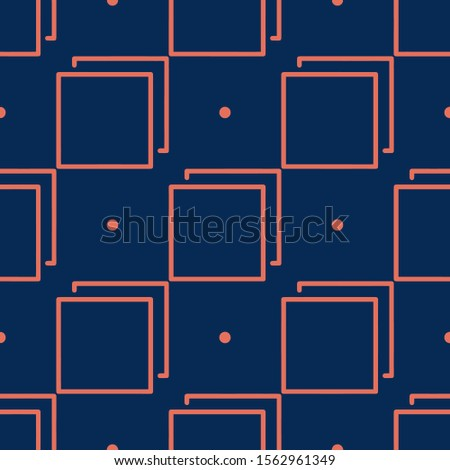 Seamless two color coral multi tab flat pattern on midnight blue background. #1562961349