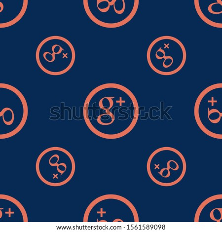 Seamless two color coral social google plus circular button flat pattern on midnight blue background.