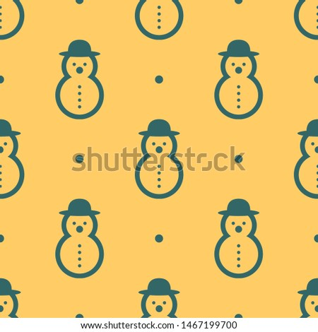 Seamless two color dark slate gray snowman rounded shape with rounded hat flat pattern on khaki background.