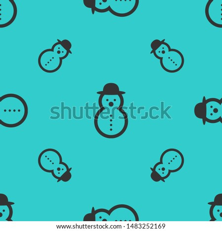 Seamless two color dark slate gray snowman rounded shape with rounded hat flat pattern on medium turquoise background.