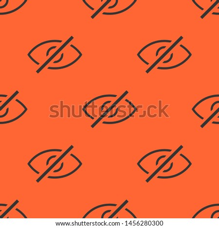 Seamless two color dark slate gray visible interface symbol eye with slash it flat pattern on tomato background.