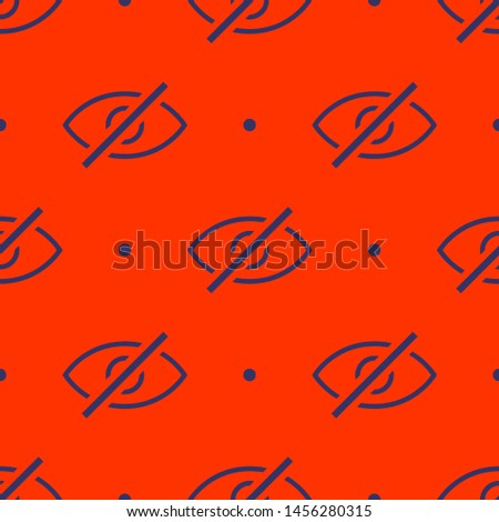 Seamless two color dark slate gray visible interface symbol eye with slash it flat pattern on orange red background.