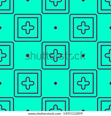 Seamless two color maroon plus square button outline flat pattern on dark turquoise background.
