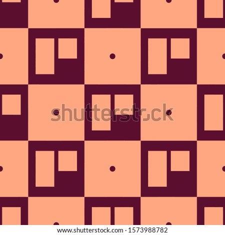 Seamless two color maroon trello logo flat pattern on light salmon background.