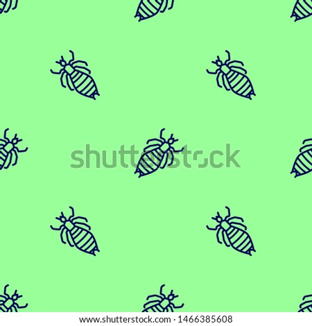 Seamless two color midnight blue louse flat pattern on pale green background.