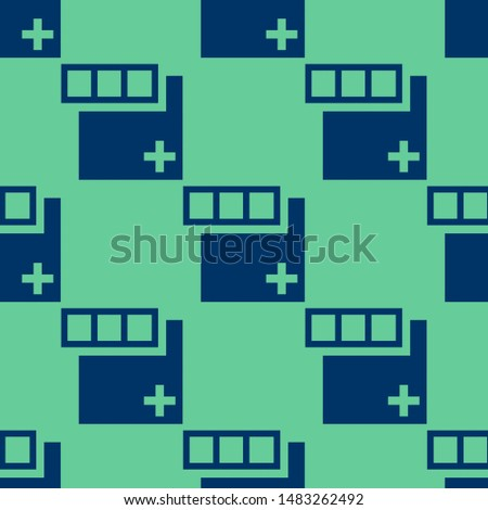 Seamless two color midnight blue square plus add button with three squares outline flat pattern on medium aqua marine background.