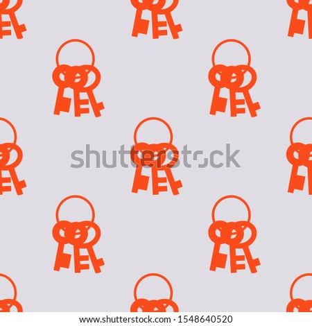 Seamless two color orange red keys group hanging circle flat pattern on gainsboro background.