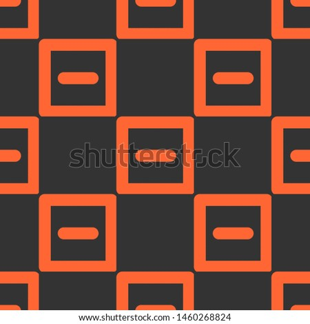 Seamless two color tomato minus sign inside square outline flat pattern on dark slate gray background.