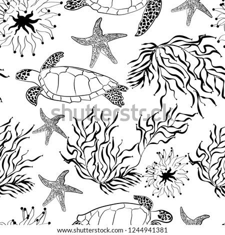 shutterstock puzzlepix Atlantic Ocean Underwater seamless underwater sea ocean turtle plants coral pattern