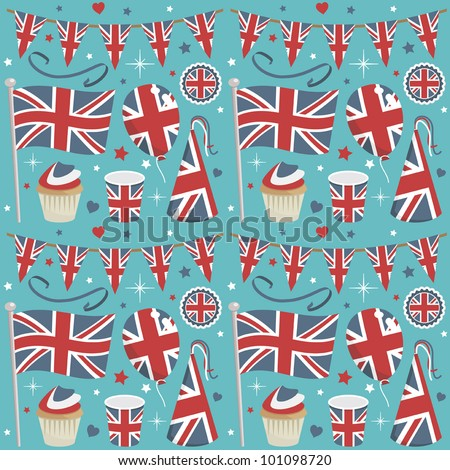 seamless united kingdom party pattern wrapping with decorations