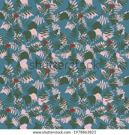 Seamless unusual abstract artwork with botanical flower motifs