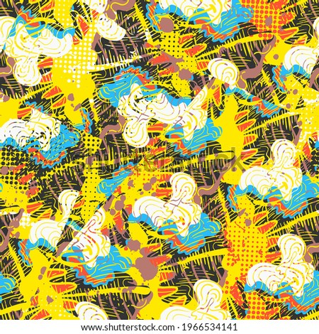 Seamless unusual abstract pattern with hand drawn wave lines and shapes