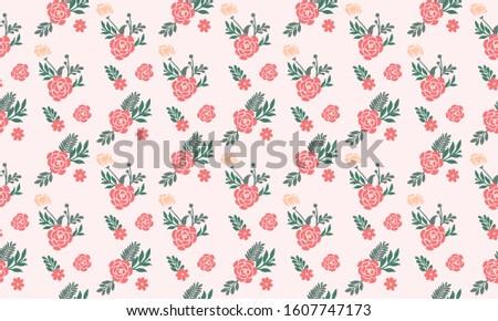 Seamless valentine flower pattern background, with leaf floral cute design.