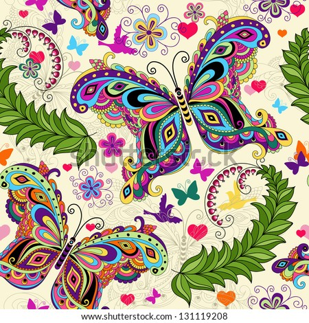 Seamless valentine pattern with colorful vintage butterflies and flowers and hearts vector