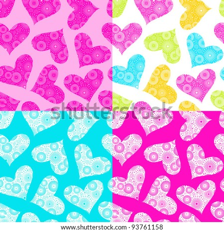 Seamless Valentine's Day backgrounds / patterns with hearts and flowers