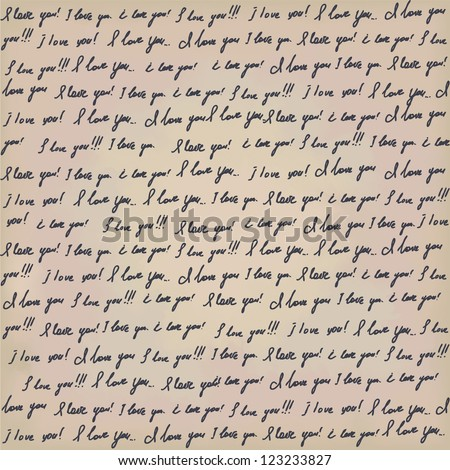 Seamless Valentines background with hanwritten text on old paper. I love you - stock vector