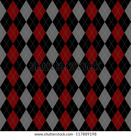 Seamless vector argyle pattern - red, black and grey.