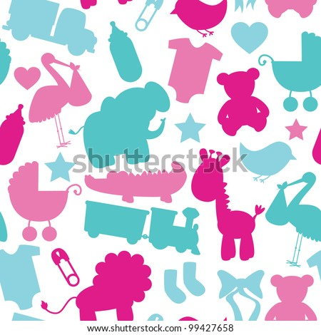 Seamless Vector Baby Shower Pattern - stock vector