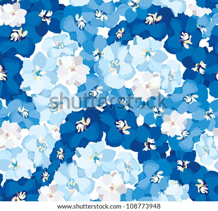 seamless vector background from white, blue and dark blue flowers delphinium