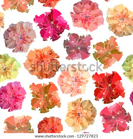 Seamless vector background of bright hibiscus (Chinese rose) on white. - stock vector