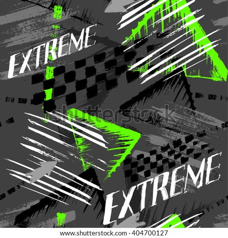 Seamless vector background pattern with elements of chess squares and stripes, speed, extreme and spots for boy. Grunge neon texture background.
