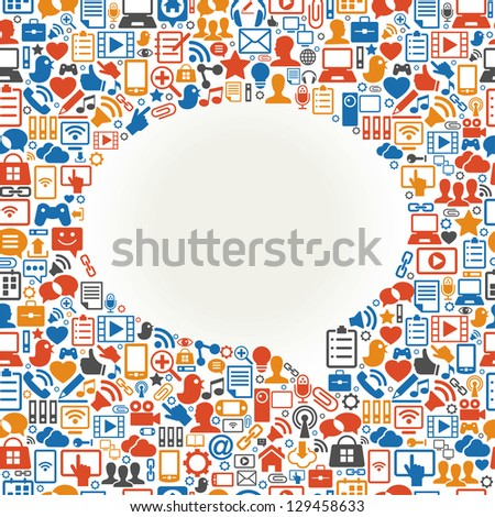 Seamless vector background speech bubble shape formed by the social media icons and words - stock vector
