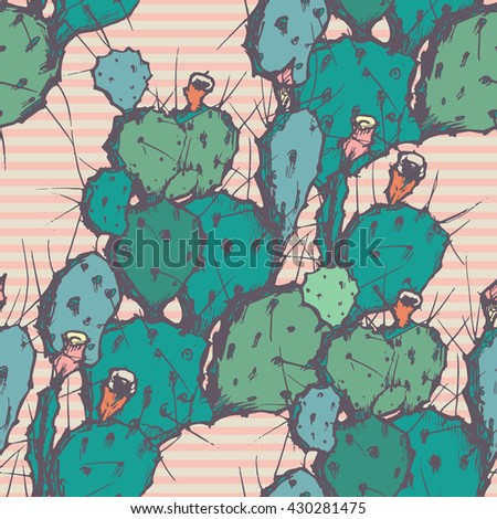 Seamless vector background with cactus.