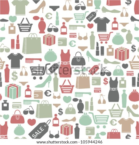seamless vector background with colorful shopping icons