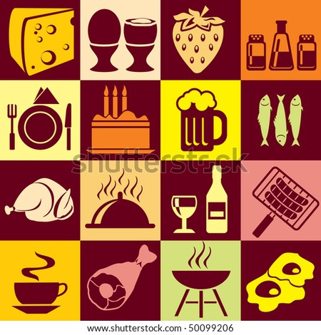 Seamless vector background with colorful symbols of food and beverages. Alternation of light and dark cells