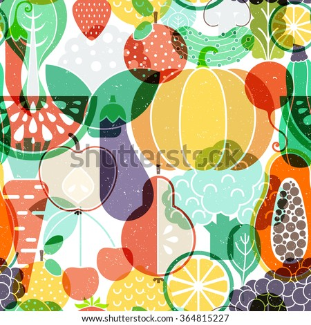 Seamless vector background with different fruits and vegetables. Great for restaurant menu backdrop, healthy food concept, juice bar illustration. Vegetarian colorful texture. Great summer tile.