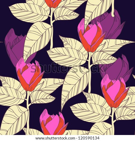 Seamless vector background with drawing flowers and leafs