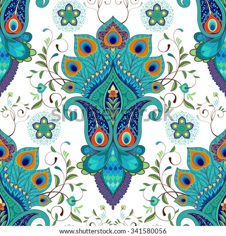 Seamless vector background with oriental pattern. Paisley flowers with peacock feathers.  Foto stock ©