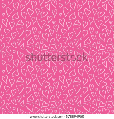 Seamless vector background with pink hearts. Love, wedding, Valentines day design.