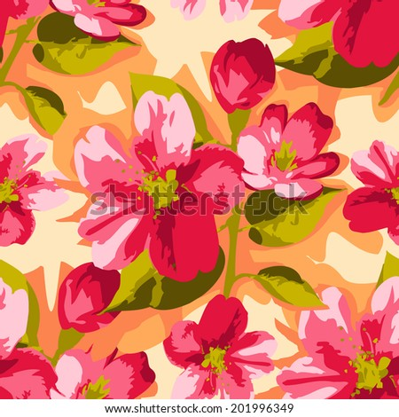 Seamless vector background with stylized fresh apple blossom flower - stock vector