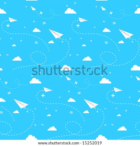 Seamless vector backround with clouds paper planes and math signs, on blue sky.