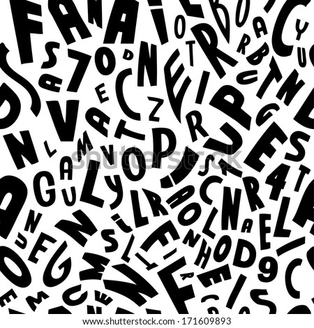 Seamless vector black on white letters pattern illustration