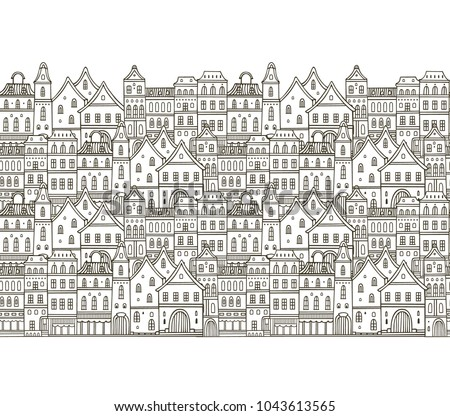 Seamless vector border pattern with classic european houses on white background