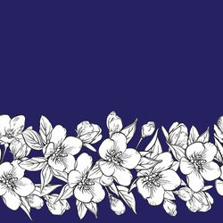 Seamless vector border with black and white sakura flowers, leaves. Vintage floral pattern with leaf and cherry blossom. Seamless floral band, rim for cards, wedding, fabric.